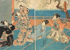 Utagawa Kunisada: Häusliche Szene: Der kleine Kirschbaum ist der beliebteste im Kirschblütengarten