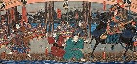 Utagawa Kunisada: (recto) Naozane trifft Atsumori bei der Brücke - Aus dem Kabuki-Schauspiel Keimendes Grün auf dem Schlachtfeld von Ichinotani