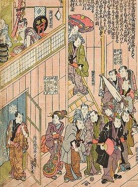 Utagawa Kunisada: Innenansicht des Dotombori-Theaters in Osak