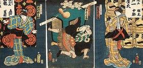 Utagawa Kunisada: Bühnenszene aus dem Kabuki-Schauspiel Die Begegnung der Rivalen im Vergnügungsviertel (recto von 38349)