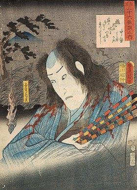 Utagawa Kunisada: Prinzessin Nakatsukasas Gedicht Mit dem Herbstwind und Onoe Kikugoro als Geist des Yasukata - Aus der Serie Imaginierte schauspielerische Darstellungen von 36 Gedichten (recto von 38355)