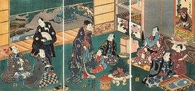 Utagawa Kunisada: Festessen der Brüder Ichikawa und ihrer Gäste bei Danjuro VIII