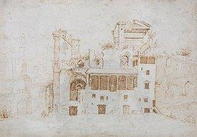 Maerten van Heemskerck: Reste des Serapistempels und Palast der Colonna in Rom