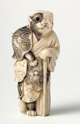 Netsuke. Tanuki als Priester. Japan, späte Edo-Zeit, Mitte 19. Jh