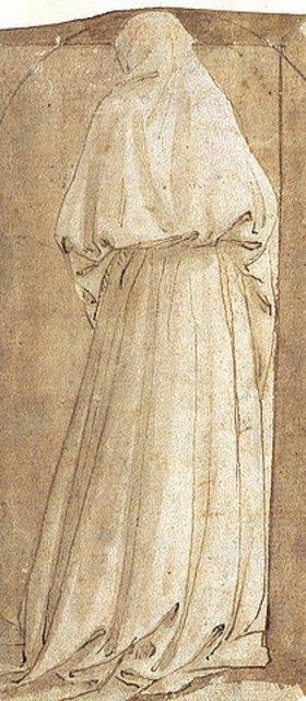 Maso (Tommaso di Antonio) Finiguerra: Stehende Gewandfigur vom Rücken gesehen