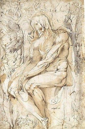 Battista Giovanni Franco: Skizzenblatt mit einem sitzenden Greis mit langem Haar und Bart und einem stehenden Akt