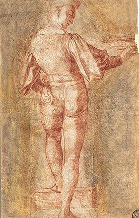 Baccio Bandinelli: Stehende männnliche Figur vom Rücken gesehen, eine Schale tragend