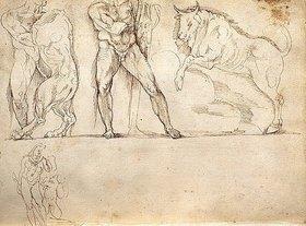 Giacomo della Porta: Skizzen nach dem Herkues-Sarkophag in der Villa Borghese, Rom - Seite 25 des Skizzenbuches ,L'arte del disegno e le vivezze dell'ingegno'
