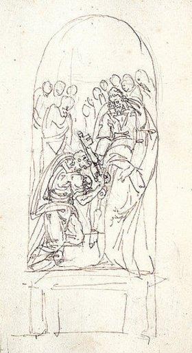 Giacomo della Porta: Schlüsselübergabe an Petrus - Seite 179 des Skizzenbuches ,L'arte del disegno e le vivezze dell'ingegno'. Nach