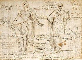 Pietro Testa: Die allegorischen Figuren von Vernunft und Weisheit - Fol. 8 verso des Sizzen- und Notizbuches