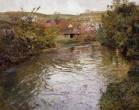 Frits Thaulow: Bauernhäuser an einem Flusslauf