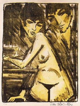Otto Mueller: Paar am Tisch (Selbstbildnis mit Maschka; Absinthtrinkerin)