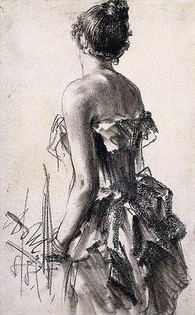 Adolph von Menzel: Rückenansicht einer Dame. 1888 (Es handelt sich wahrscheinlich um eine Vorzeichnung für 'Im Weißen Saal' aus demselben Jahr.)