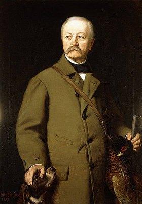 Otto Johann Heinrich Heyden: Otto von Bismarck in Jagduniform mit seinem Hund und einem toten Fasan