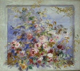 Auguste Renoir: Rosen in einem Fenster