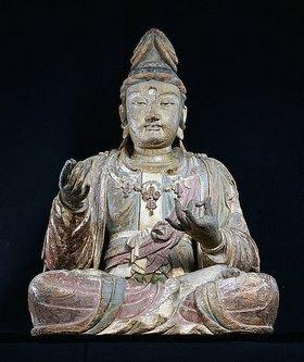 Holzfigur im Schneidersitz, Song Dynastie. Circa 12. Jh