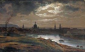 Johan Christian Clausen Dahl: Blick auf Dresden bei Abend
