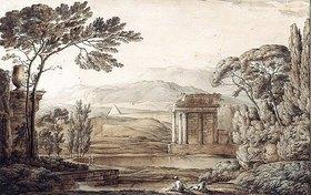 Franz Kobell: Klassische Landschaft mit Ruinen und Pyramide