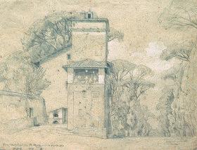 Johann Wilhelm Schirmer: Casa Cenci im Park der Villa Borghese, Rom