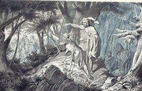 Wilhelm Camphausen: Tristan und Kadin beobachten heimlich Isolde beim Ausritt