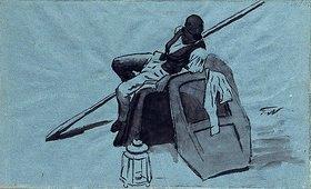 Friedrich Nerly: Schlafender Gondoliere - recto von