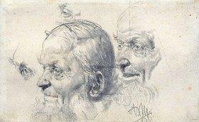Adolph von Menzel: Kopf- und Augenstudien eines alten Mannes