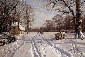 Peder Moensted: Eine Schlittenfahrt durch eine Winterlandschaft