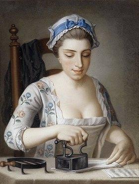 Henry Robert Morland: Ein Dienstmädchen beim Bügeln