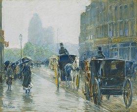 Frederick Childe Hassam: Pferdetaxis in New York