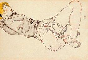 Egon Schiele: Liegende Frau mit blondem Haar