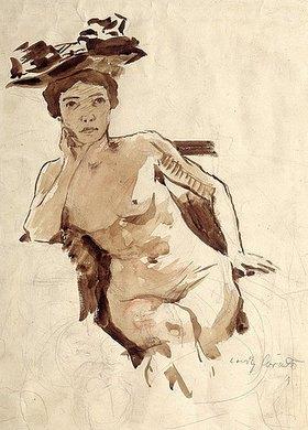Lovis Corinth: Weiblicher Halbakt mit Hut