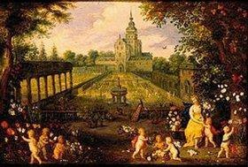 Pieter van Avont: Flora im Garten. Blumen und Bäume von Jan Brueghel d.J