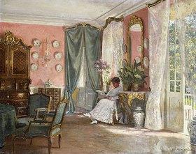 Adolf Heinrich Hansen: Lesende in einem Gartenzimmer