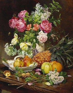 Louis Marie de Schryver: Stillleben mit Blumenstrauß und Früchten
