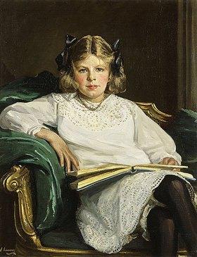 Sir John Lavery: Dreiviertelporträt von Betty mit einem Buch. 1915 (Das Bildnis zeigt Betty Graham, die Tochter des späteren Duke of Montrose.)