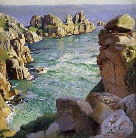 Harold Harvey: Logans Rock, Porthcurno Beach, Cornwall
