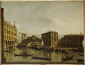 Bernardo (Canaletto) Bellotto: Der Canal Grande in Venedig mit dem Fondaco dei Tedeschi, der Rialtobrücke, dem Palazzo dei Camerlenghi und den Fabbriche Vecchie di Rialto