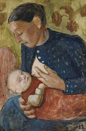 Paula Modersohn-Becker: Stillende Mutter (verso: Bauer mit Ziegen)
