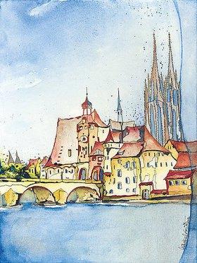 Annette Bartusch-Goger: Deutschland, Regensburg: Altstadt mit Brücke