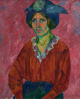 Walter Ophey: Mädchenbild in Rot (Modell mit Hut)