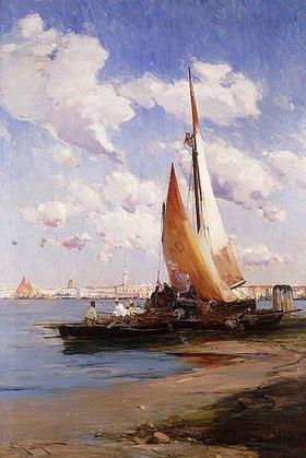 E. Aubrey Hunt: Fischerboote mit dem Riva degli Schiavoni, Venedig, im Hintergrund