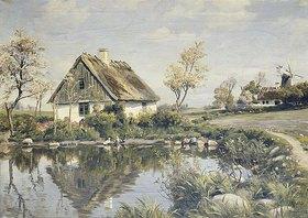 Peder Moensted: Ein Bauernhaus an einem Teich