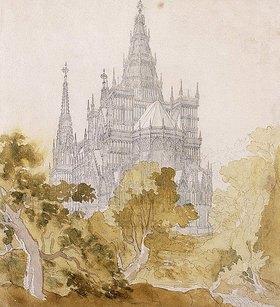 Karl Friedrich Schinkel: Eine Gotische Kathedrale hinter Bäumen