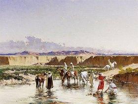 Victor Pierre Huguet: Arabische Reiter tränken ihre Pferde an einer Oase