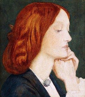 Dante Gabriel Rossetti: Elizabeth Siddal, im Profil nach rechts. (Die Dargestellte war Rossettis Lieblingsmodell und wurde 1860 seine Frau.)
