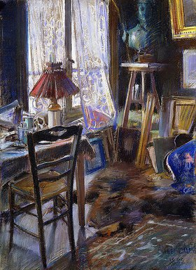 Akseli Valdemar Gallén-Kallela: Das Atelier von Comte Deheaulme de Vallombreuse, 36 Rue Jouffroy, Paris