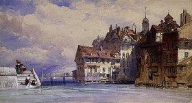 William Callow: Ansicht der Genfer Altstadt