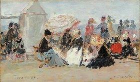 Eugène Boudin: Crinolines sur la plage, Trouville