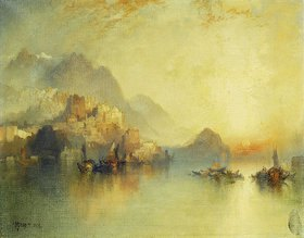 Thomas Moran: Ein Bergdorf bei Sonnenuntergang