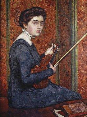 Theo van Rysselberghe: Woman with Violin (Portrait of Renée Druet)
